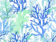 Watercolor Corals. Seamless Pa...