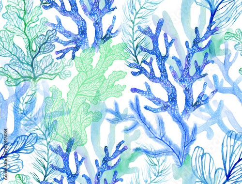 Fotografia Watercolor corals. Seamless pattern with the underwater world