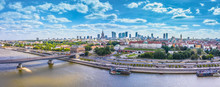 City Skyline Background. Aerial View Of Warsaw Capital City Of Poland. From Above, City View With Night Sky. Panorama Of Warsaw Cityscape. Europe. Aerial View