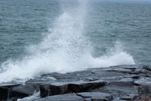 Waves Of Lake Superior Crashing On Rocky Shore