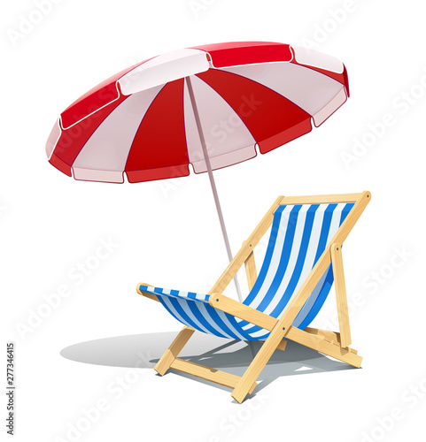 Photographie Beach chaise longue and sunshade for summer rest