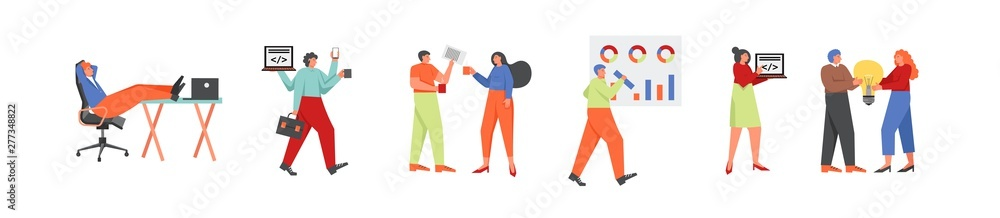 Fototapeta Business people in office, vector flat isolated illustration