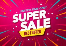 Vector Illustration Super Sale Banner Design With Party Background
