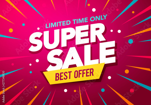 Photo  Vector illustration super sale banner design with party background