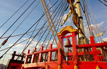 Masts And Rigging Of An Old Wo...