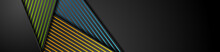 Black Abstract Corporate Banner With Colorful Lines