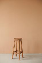 Round Wooden Stool With Beige ...