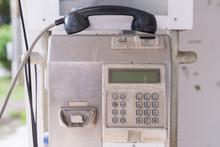Metal Public Telephone Box Outdoor.