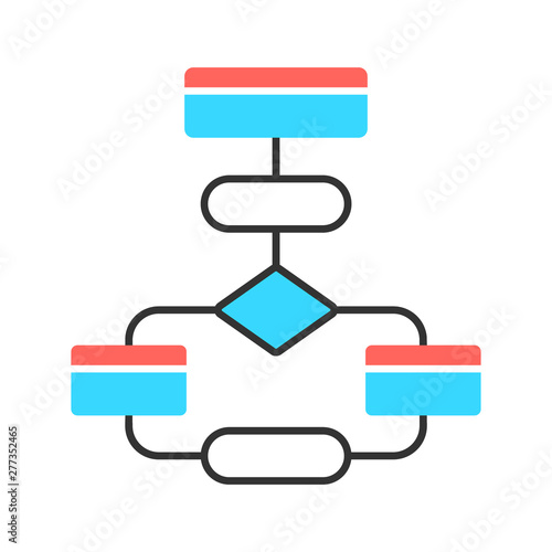 Flow diagram color icon  Flowchart  Elements structure and