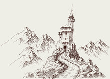 A Castle In The Rocky Mountains Hand Drawing
