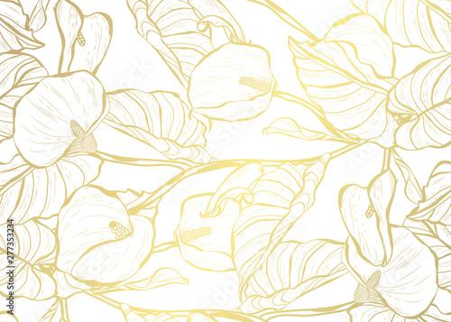 Stampa su Tela  golden seamless pattern