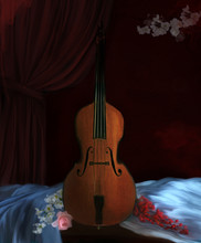 Still Life Background With An Old Cello And Flowers – 3D And Digital Painting Illustration
