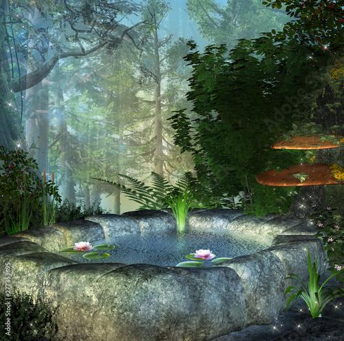 Fotografie, Obraz  Fairy secret pond in the enchanted forest