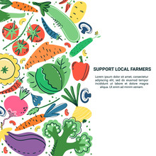 Vegetables Hand Drawn Banner Set. Healthy Meal, Diet, Nutrition Or Lifestyle. Organic Food Restaurant And Support Farmers Market Concept. Vegetables In Composition With Place For Your Text