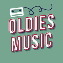 Oldies Music Vintage 3d Vector Lettering. Retro Bold Font, Typeface. Pop Art Stylized Text. Old School Style Letters. 90s, 80s Poster, Banner, T Shirt Typography Design. Soft Green Color Background