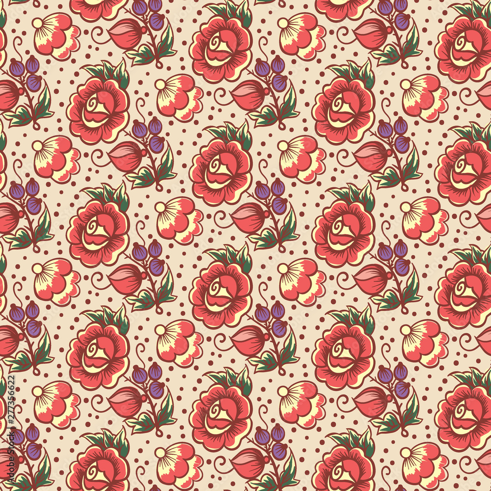 Seamless pattern  with floral ethnic polkhov-Maydan painting decoration for your design