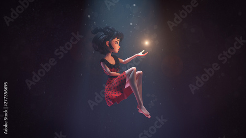 3d illustration of an asian girl sitting in the air in deep space with stars Fototapeta