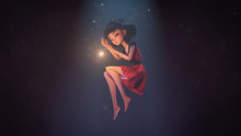 3d Illustration Of An Asian Girl Sleeping In The Air In Deep Space With Stars. Young Cartoon Woman Floating In The Air. Girl Sleeping In The Dark Near A Shining Star. Space Art. Deep Dream Concept.