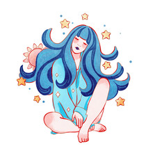 Digital Illustration Of A Sleeping Girl With Moon In Her Long Blue Wavy Hair. A Young Woman Sits Dreaming And Stars Around Her. Peaceful Painting. Hand Drawn Gentle Illustration Of A Beautiful Woman.