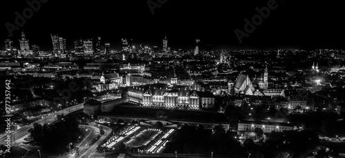Fototapeta Night panorama of Warsaw, capital of Poland, Europe. Black and White. Aerial view obraz