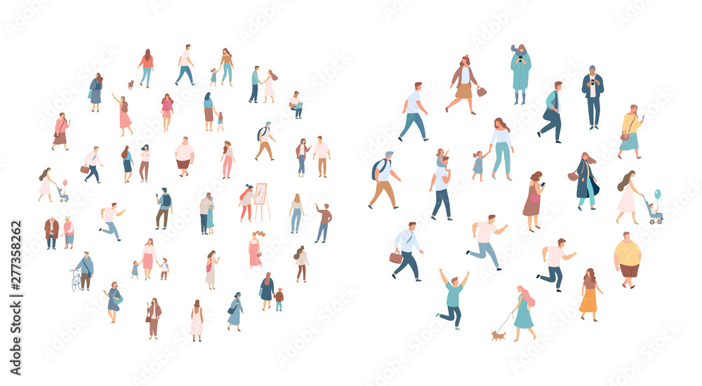 Fototapety, obrazy: Crowd of people. Men and women flat vector set. Different walking and running people. Outdoor. Male and female. Flat vector characters isolated on white background.