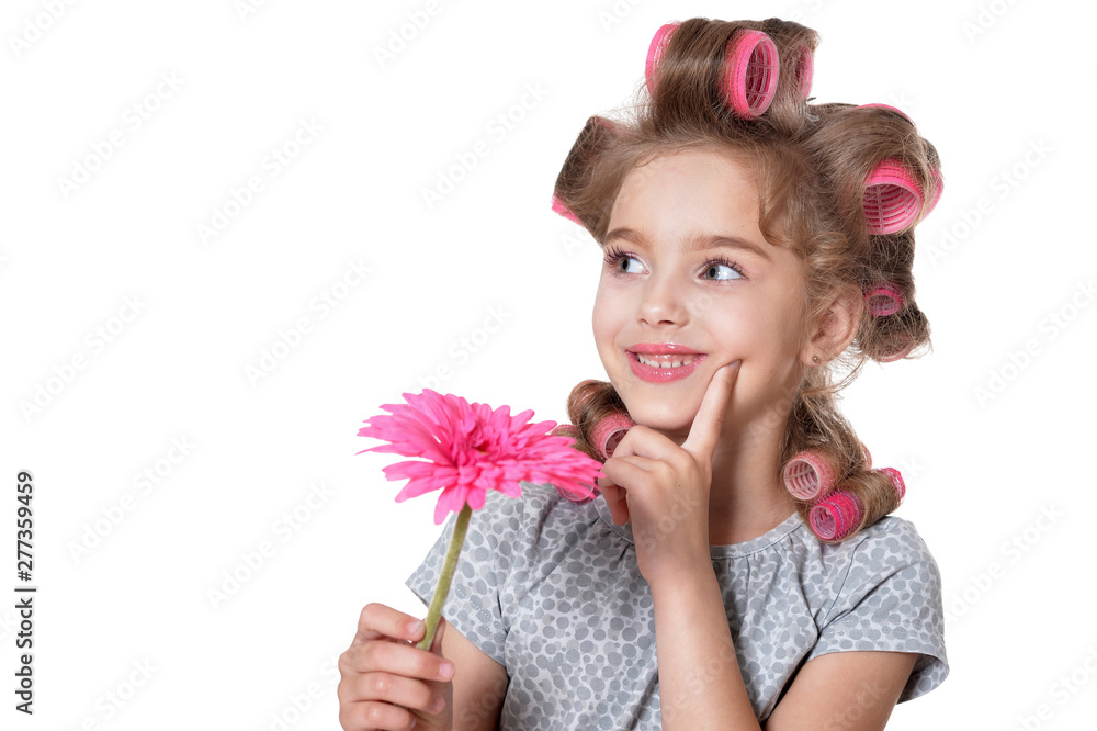 Fototapety, obrazy: Portrait of little pretty girl with hair curlers posing with flower isolated