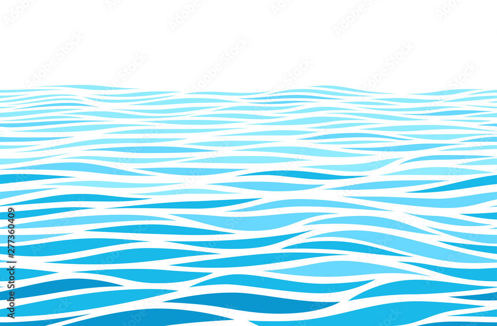 Fototapety, obrazy: Blue water waves perspective landscape. Vector horizontal seamless pattern