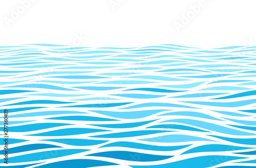 Blue water waves perspective landscape. Vector horizontal seamless pattern