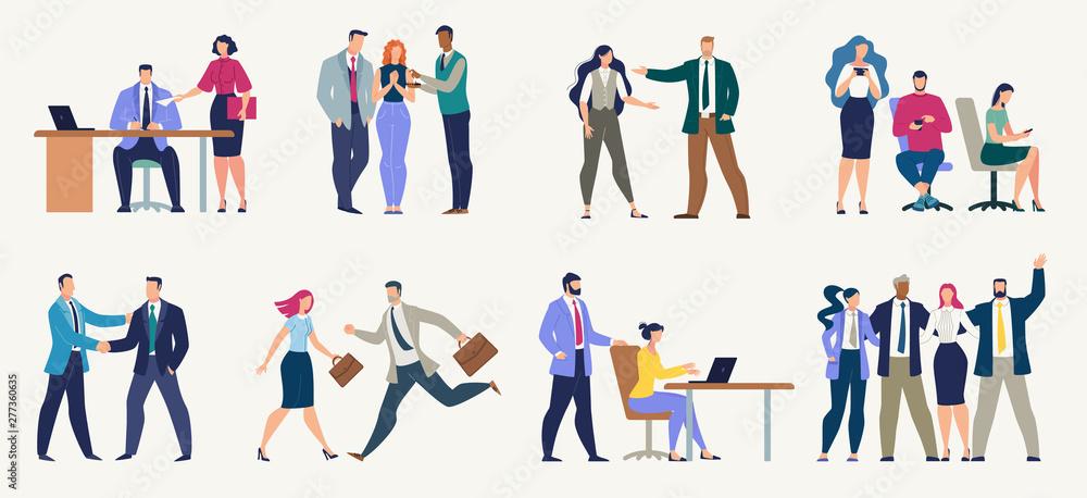 Fototapeta Businesspeople, Office Workers Flat Vector Set