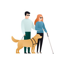 Vector Blind Character People Flat Illustration. Pair In Glasses With Cane Walking With Guide Dog. Modern Design Element For Social Care Service, Diversity, Accessebility, Relationship, Love