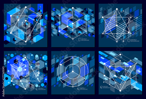 Vector of modern abstract cubic lattice lines blue black backgrounds