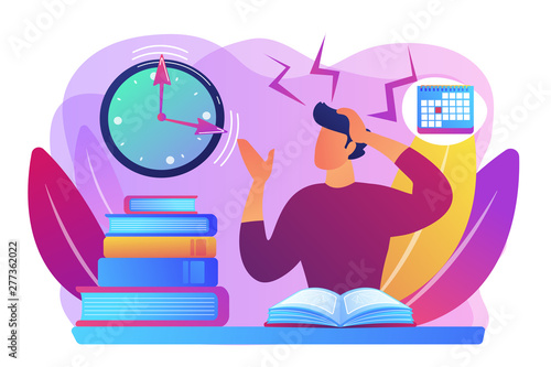 Deurstickers Graffiti collage Terrible time crunch, cramming material before tests, examination. Exams and test results, personal exam timetable, exam stress and anxiety concept. Bright vibrant violet vector isolated illustration