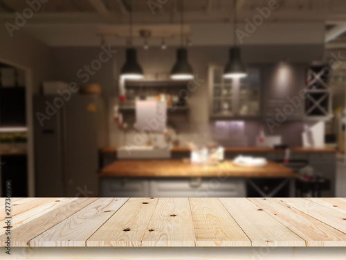 Photo  Modern luxury kitchen black golden tone with wooden tabletop space