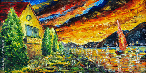 Impressionism oil painting landscape paint art Red sea ship, scarlet sails, sunset over mountains, yellow-red clouds with a palette knife