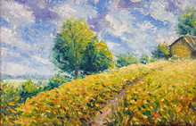 Impressionism Oil Painting Landscape Paint Art Clouds, Road To House, Rural Landscape, Beautiful Sky, Hot Summer