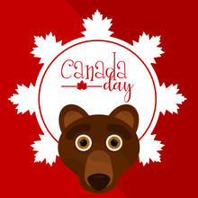Label With Text And A Bear Avatar. Canada Day - Vector
