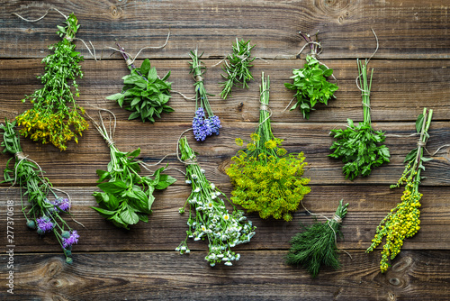 Assorted garden fresh herbs on wooden background Canvas Print