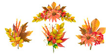 A Set Of Arrangements And Bouquets Of Autumn Leaves For Invitations, Cards, Congratulations. Watercolor Illustrations. Isolated Objects On White Background.