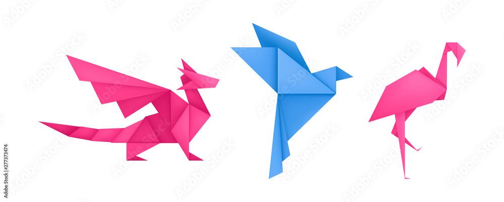 Fototapeta Origami animals different paper toys set vector