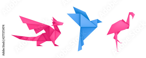 Origami animals different paper toys set vector Wallpaper Mural