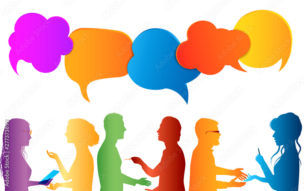 Communication group of people. Speech bubble. Colored clouds. Talk in social media. Dialogue between diverse people. Information communicate and networking. Gossip. Isolated
