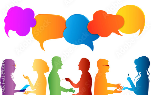 Fototapety, obrazy: Communication group of people. Speech bubble. Colored clouds. Talk in social media. Dialogue between diverse people. Information communicate and networking. Gossip. Isolated