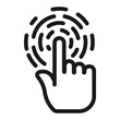 hand fingerprint scanner - minimal line web icon. simple vector illustration. concept for infographic, website or app.