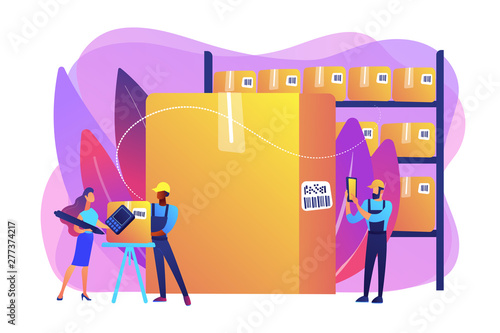 Aluminium Prints Wild West Workers in warehouse, storage facility. Sorting and labeling items. Barcode scanning, barcode generator software, mobile proof of delivery concept. Bright vibrant violet vector isolated illustration