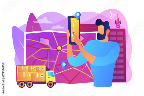 Deurstickers Graffiti collage GPS tracker on postal agent truck. Watching delivery in real time. Post service tracking, parcel monitor, track and trace your shipment concept. Bright vibrant violet vector isolated illustration