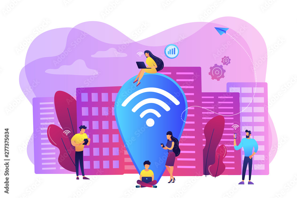 Fototapety, obrazy: Surfing web, browsing through websites. Free internet, network. Public wi-fi hotspot, free wireless internet access, free wifi service concept. Bright vibrant violet vector isolated illustration