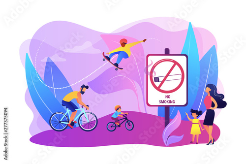 Deurstickers Graffiti collage Weekend activities in park. Father riding bicycles with son. Active, healthy hobby. Smoke-free zone, no smoking area, tobacco free facility concept. Bright vibrant violet vector isolated illustration