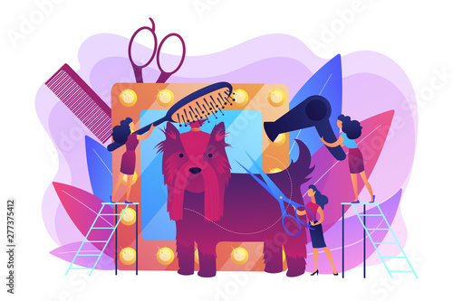 Dog show preparations. Taking care of puppy, bringing to professional groomer. Grooming salon, pet grooming services, pet beauty shop concept. Bright vibrant violet vector isolated illustration