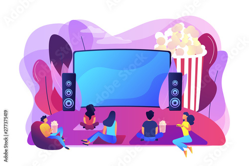 Fotobehang Hoogte schaal Movie night with friends. Watching film on big screen with sound system. Open air cinema, outdoor movie theater, backyard theater gear concept. Bright vibrant violet vector isolated illustration