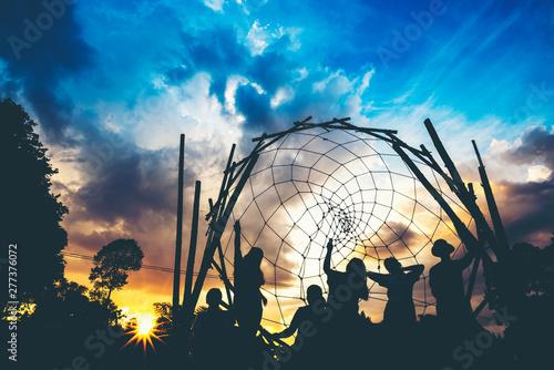 Fototapeta Big dream-catcher at sunset